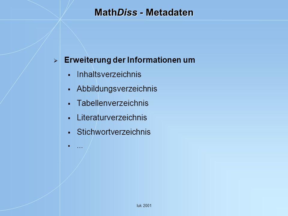MathDiss - Metadaten Erweiterung der Informationen um
