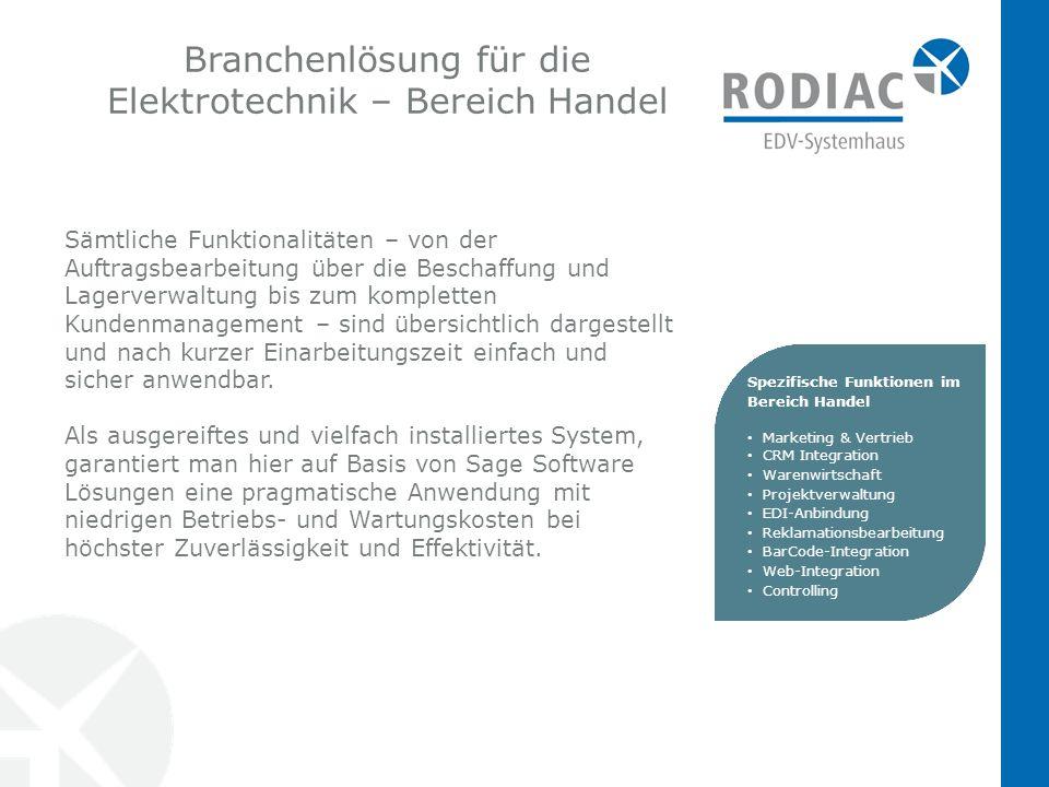 Branchenlösung für die Elektrotechnik – Bereich Handel