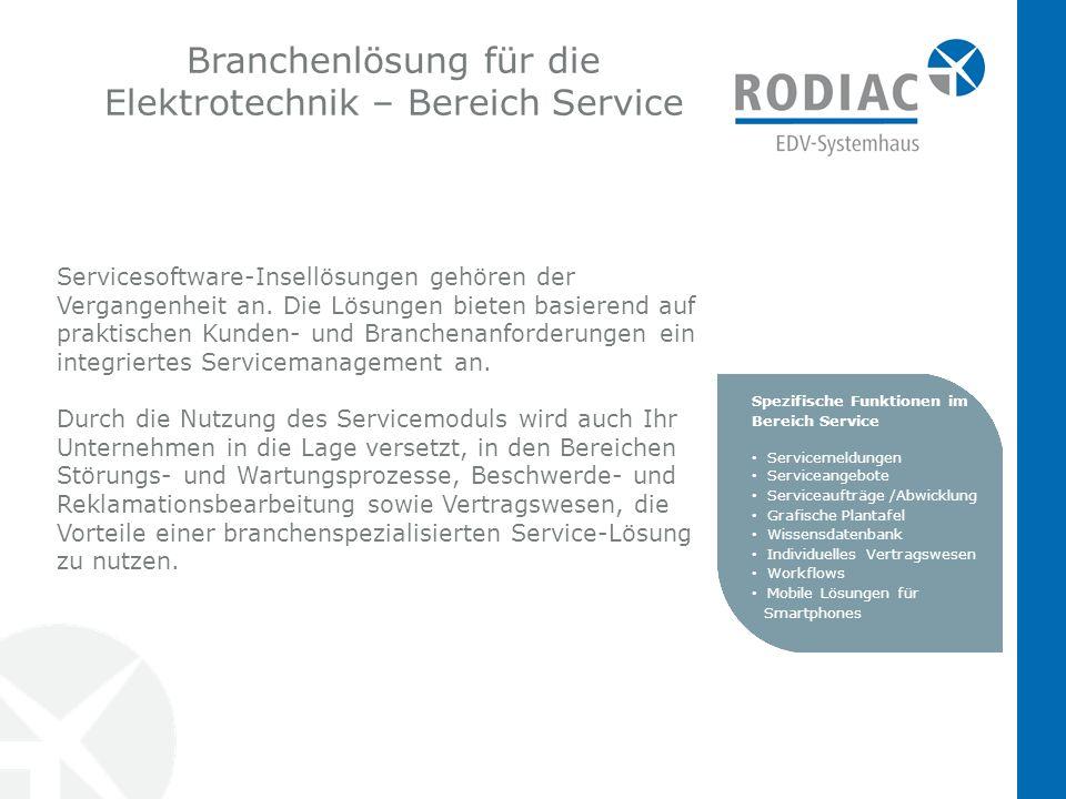 Branchenlösung für die Elektrotechnik – Bereich Service