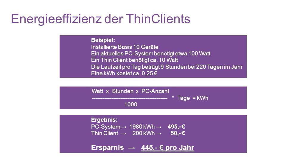Energieeffizienz der ThinClients
