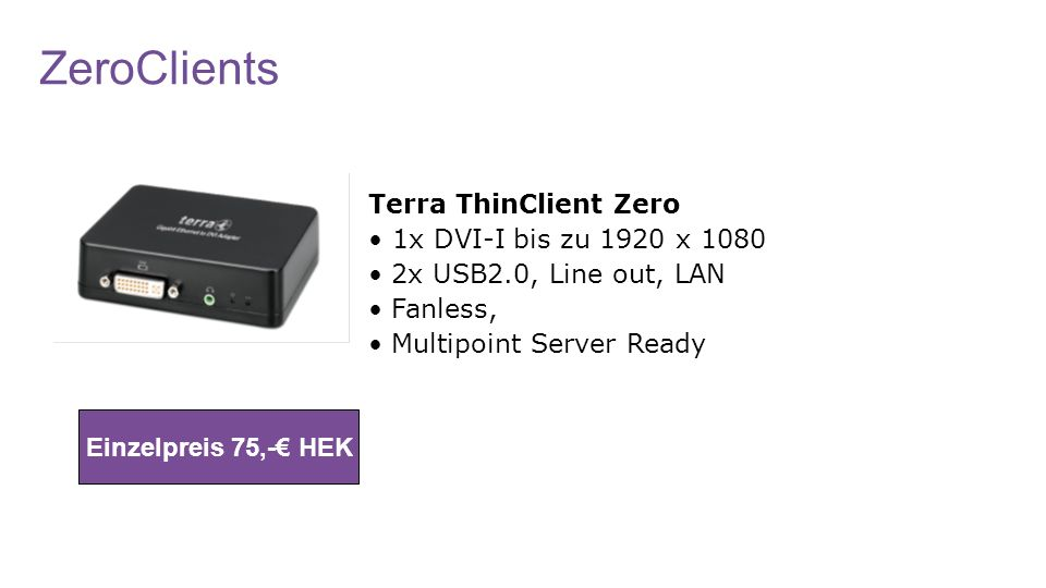 ZeroClients Terra ThinClient Zero • 1x DVI-I bis zu 1920 x 1080