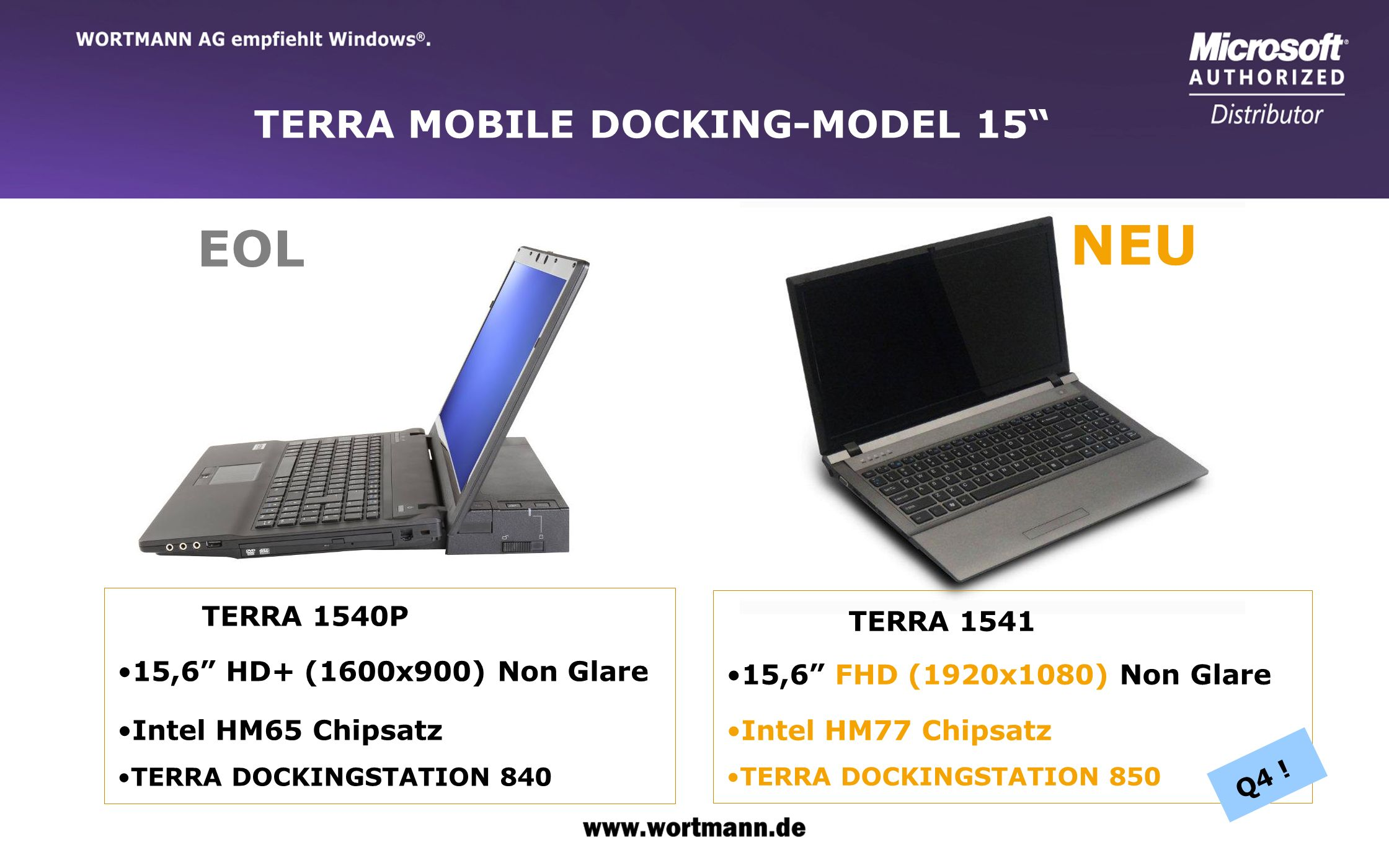 NEU EOL TERRA MOBILE DOCKING-MODEL 15 15,6 HD+ (1600x900) Non Glare