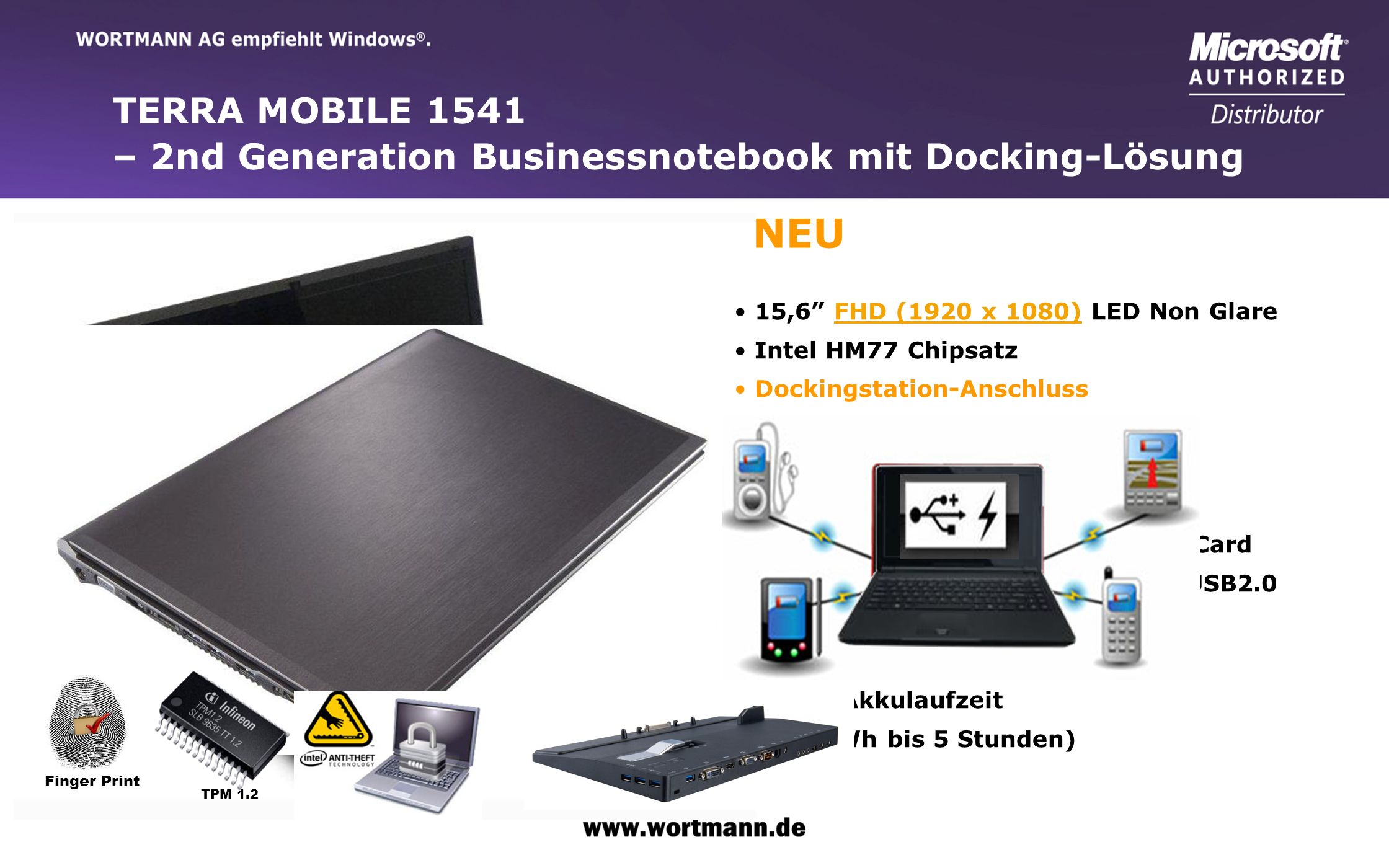 TERRA MOBILE 1541 – 2nd Generation Businessnotebook mit Docking-Lösung. NEU. 15,6 FHD (1920 x 1080) LED Non Glare.