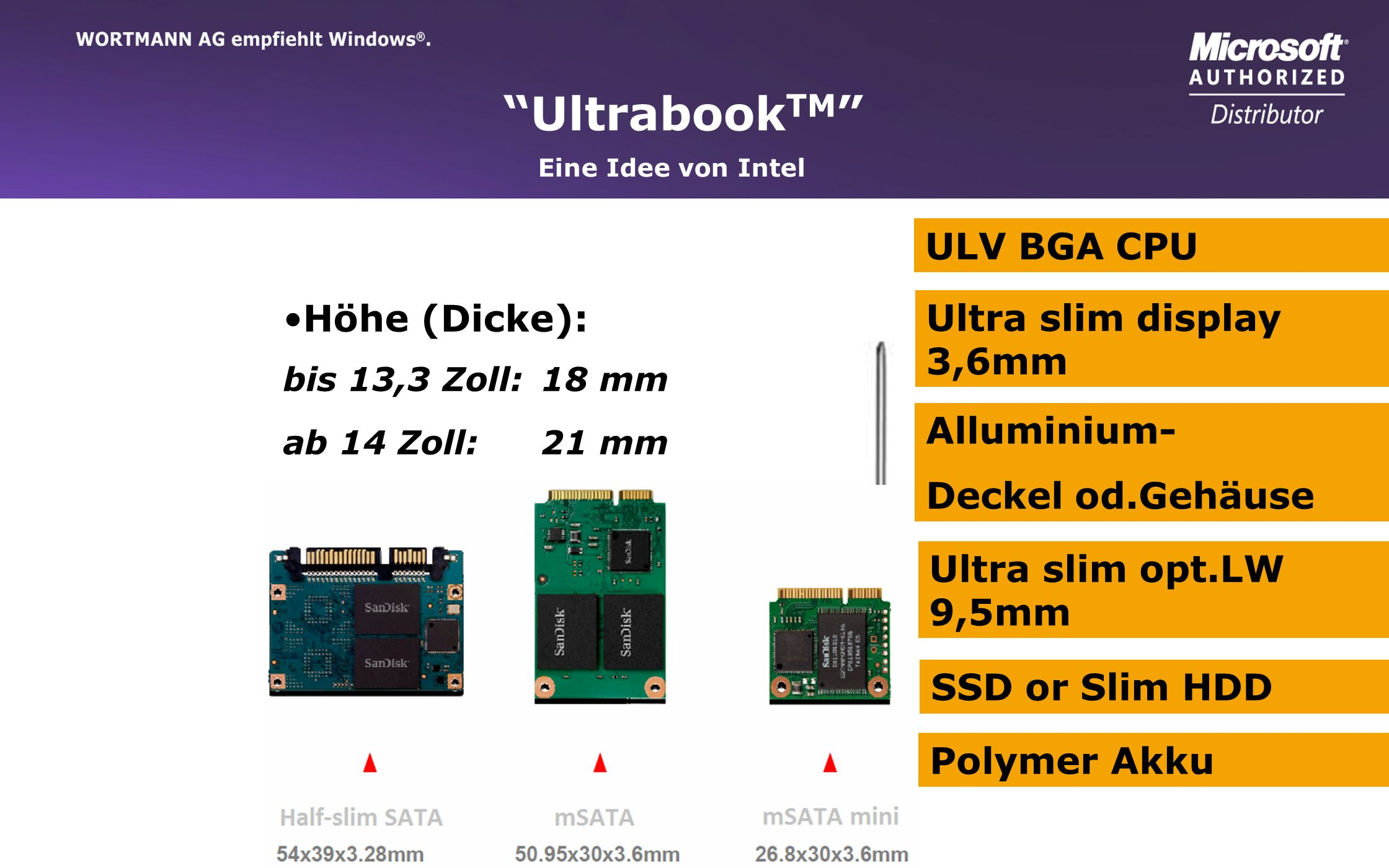 UltrabookTM ULV BGA CPU Höhe (Dicke): Ultra slim display 3,6mm