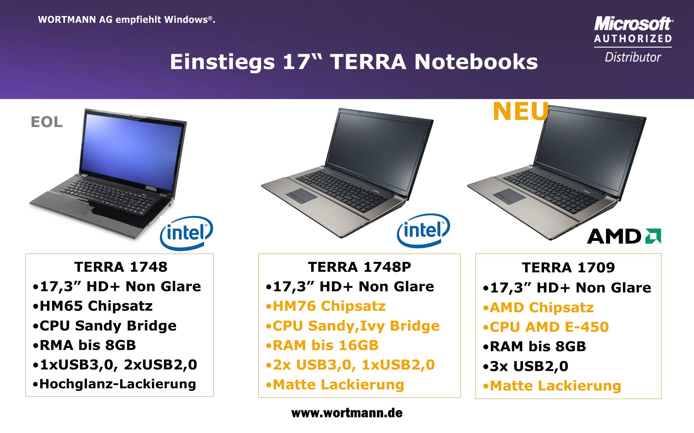NEU Einstiegs 17 TERRA Notebooks EOL 17,3 HD+ Non Glare