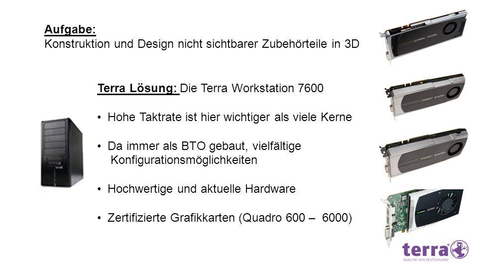 Aufgabe: Konstruktion und Design nicht sichtbarer Zubehörteile in 3D. Terra Lösung: Die Terra Workstation 7600.