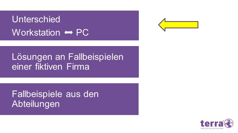 Unterschied Workstation PC. Lösungen an Fallbeispielen einer fiktiven Firma.