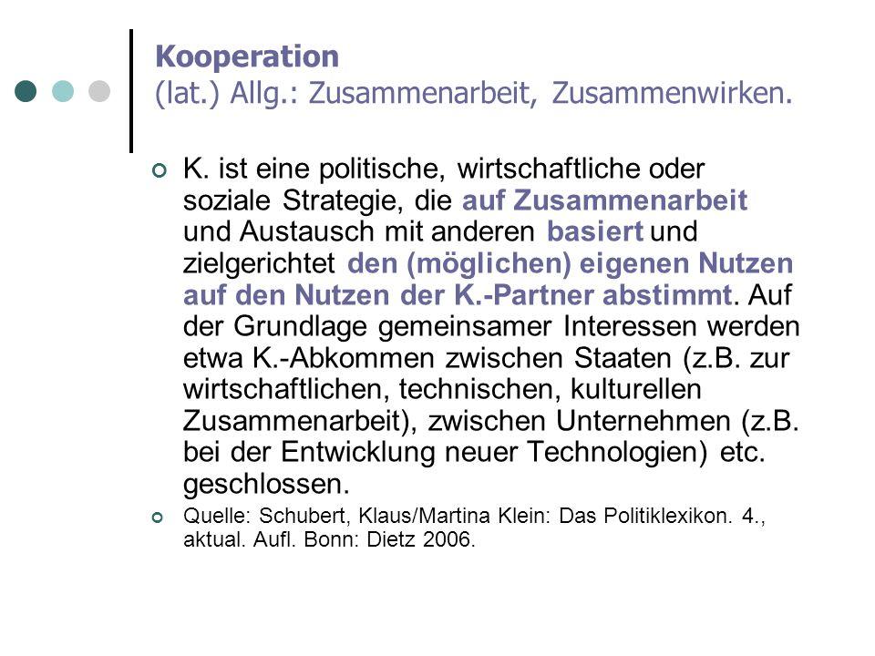 Kooperation (lat.) Allg.: Zusammenarbeit, Zusammenwirken.