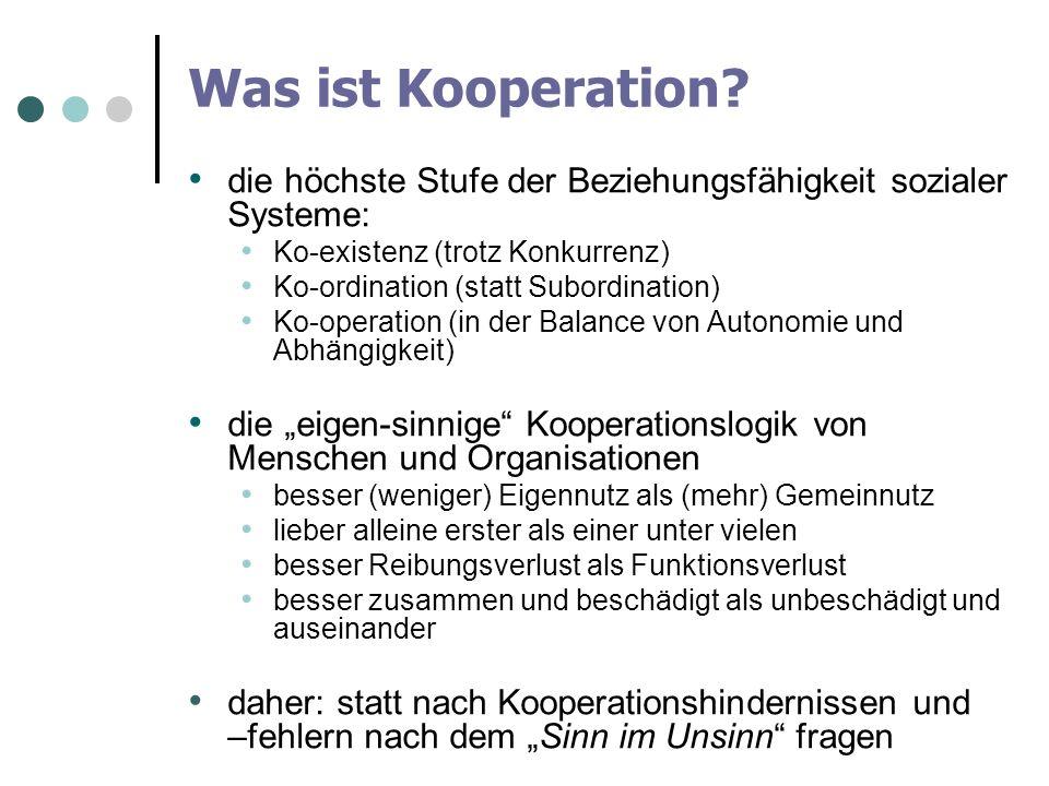 Was ist Kooperation die höchste Stufe der Beziehungsfähigkeit sozialer Systeme: Ko-existenz (trotz Konkurrenz)
