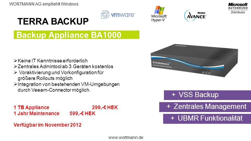 TERRA BACKUP Backup Appliance BA1000 VSS Backup Zentrales Management