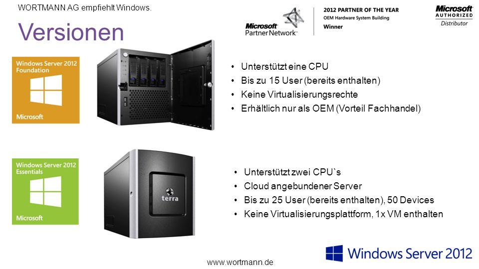 Versionen Unterstützt eine CPU Bis zu 15 User (bereits enthalten)