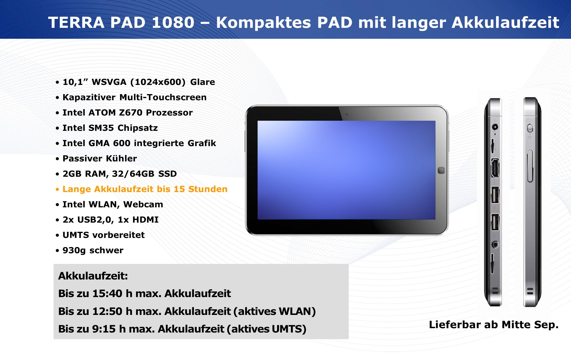 TERRA PAD 1080 – Kompaktes PAD mit langer Akkulaufzeit
