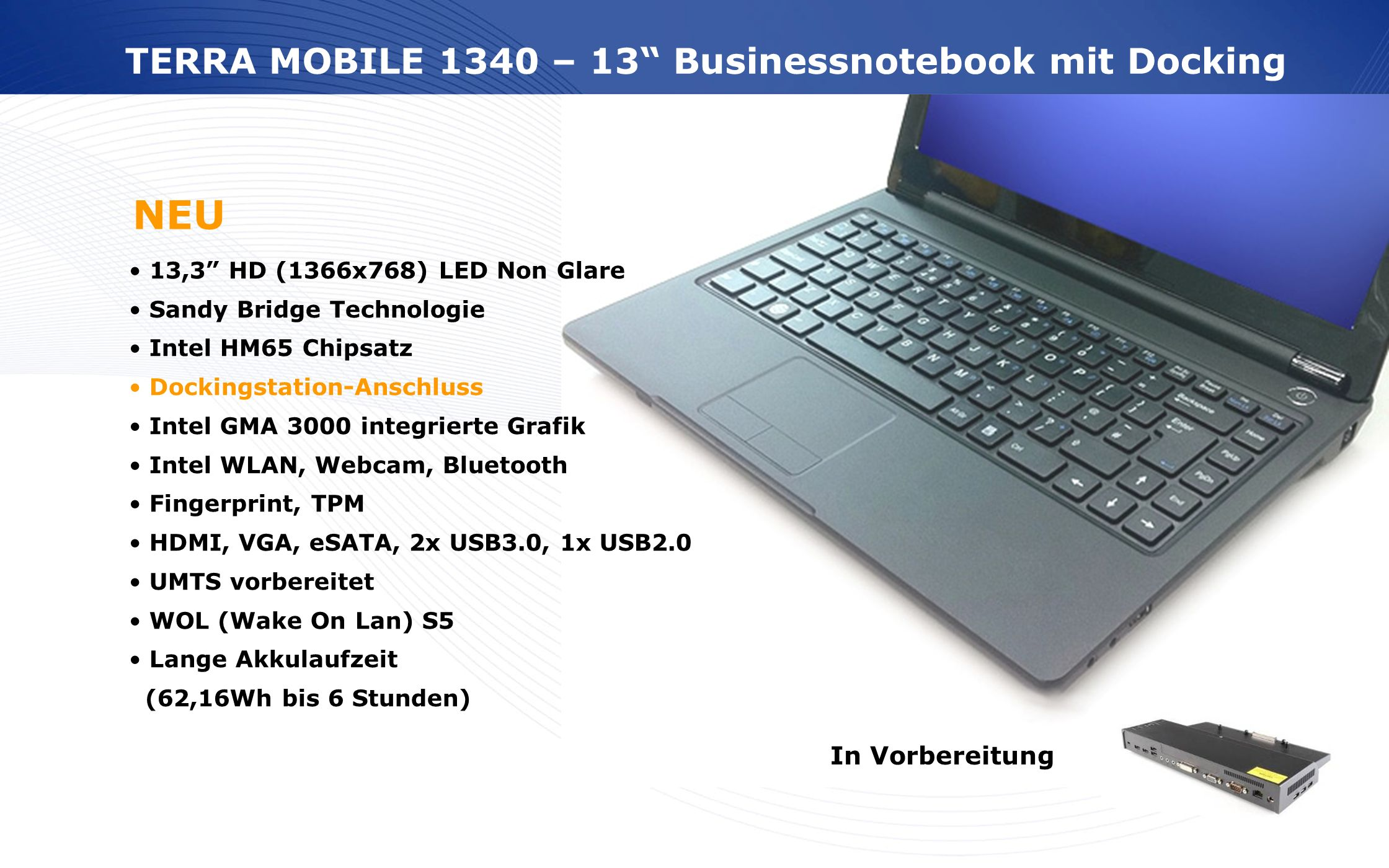 NEU TERRA MOBILE 1340 – 13 Businessnotebook mit Docking