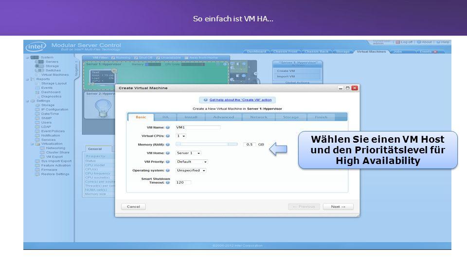 Wählen Sie einen VM Host und den Prioritätslevel für High Availability