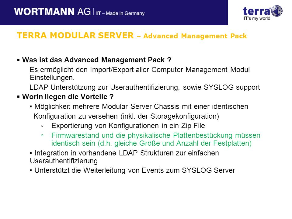 TERRA MODULAR SERVER – Advanced Management Pack