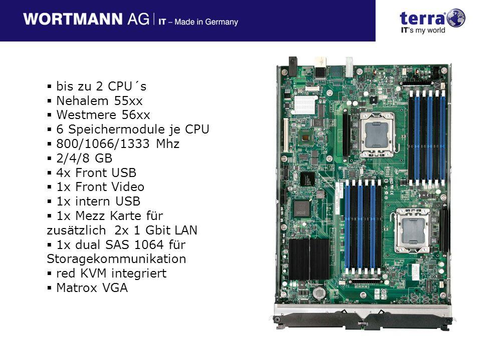 bis zu 2 CPU´s Nehalem 55xx. Westmere 56xx. 6 Speichermodule je CPU. 800/1066/1333 Mhz. 2/4/8 GB.