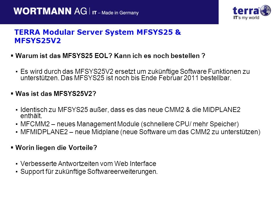 TERRA Modular Server System MFSYS25 & MFSYS25V2