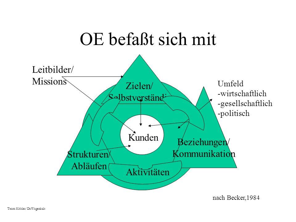 OE befaßt sich mit Leitbilder/ Zielen/ Missions Selbstverständis