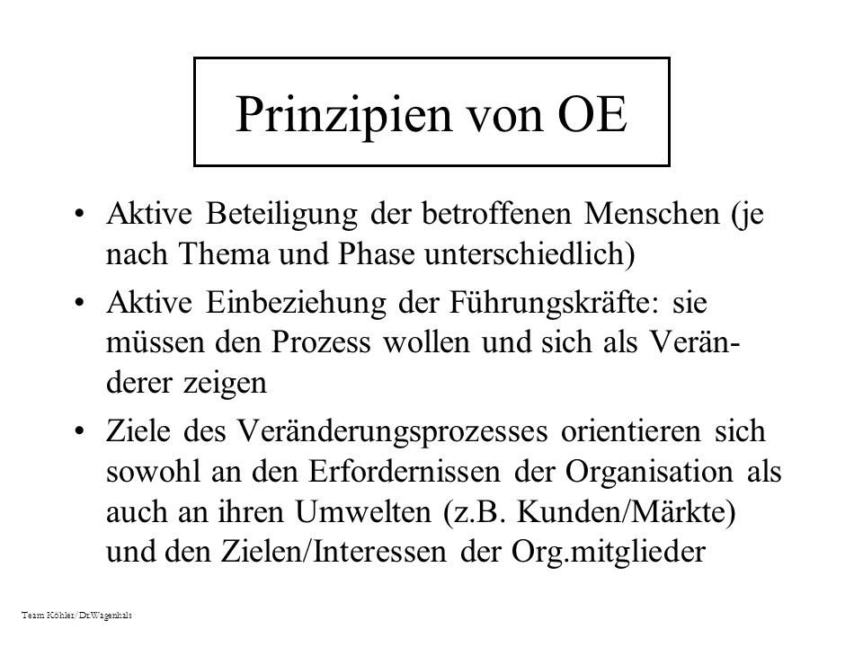 Prinzipien von OE Aktive Beteiligung der betroffenen Menschen (je nach Thema und Phase unterschiedlich)