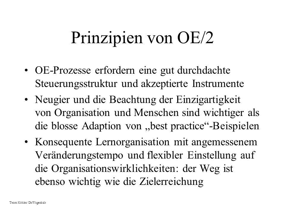 Prinzipien von OE/2 OE-Prozesse erfordern eine gut durchdachte Steuerungsstruktur und akzeptierte Instrumente.
