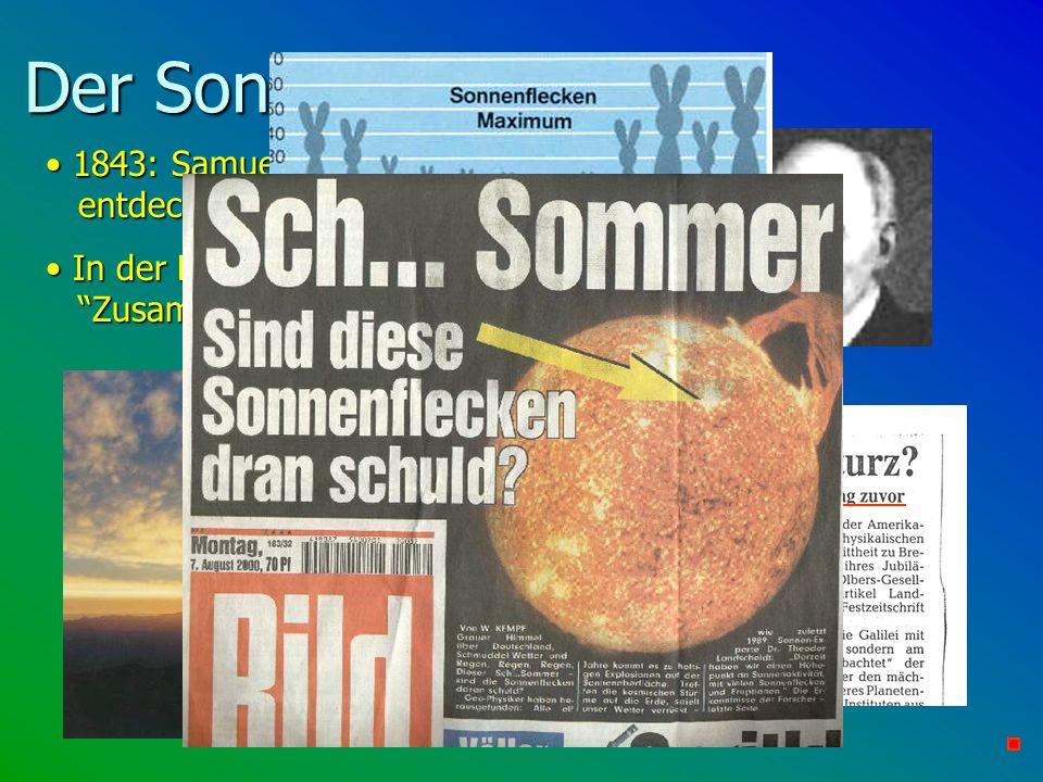 Der Sonnenzyklus und... 1843: Samuel Heinrich Schwabe entdeckt den 11-jährigen Sonnenzyklus.