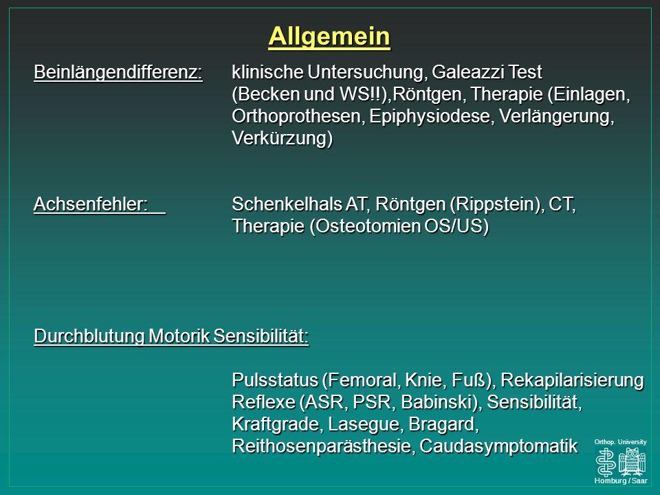 Allgemein Beinlängendifferenz: klinische Untersuchung, Galeazzi Test