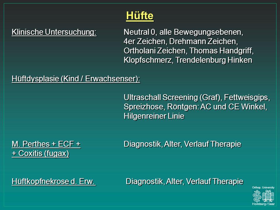 Hüfte Klinische Untersuchung: Neutral 0, alle Bewegungsebenen,