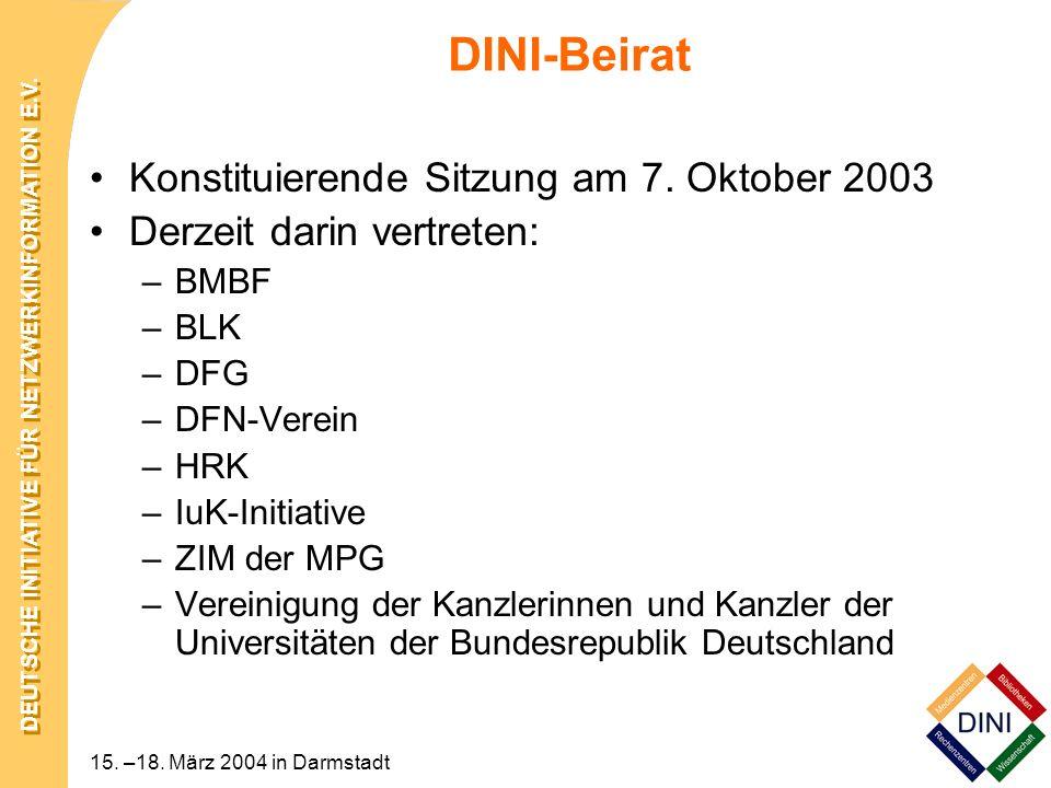 DINI-Beirat Konstituierende Sitzung am 7. Oktober 2003