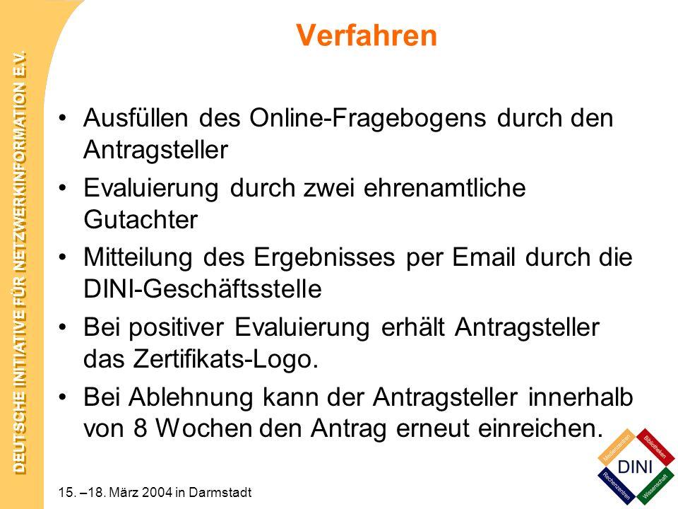 Verfahren Ausfüllen des Online-Fragebogens durch den Antragsteller
