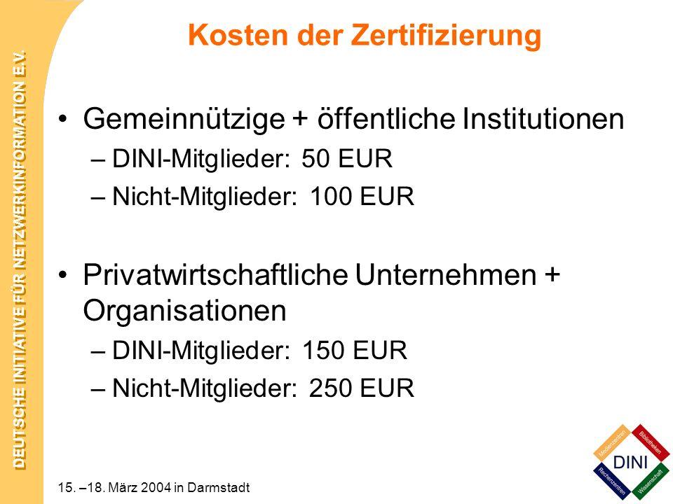 Kosten der Zertifizierung