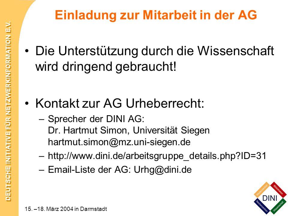 Einladung zur Mitarbeit in der AG