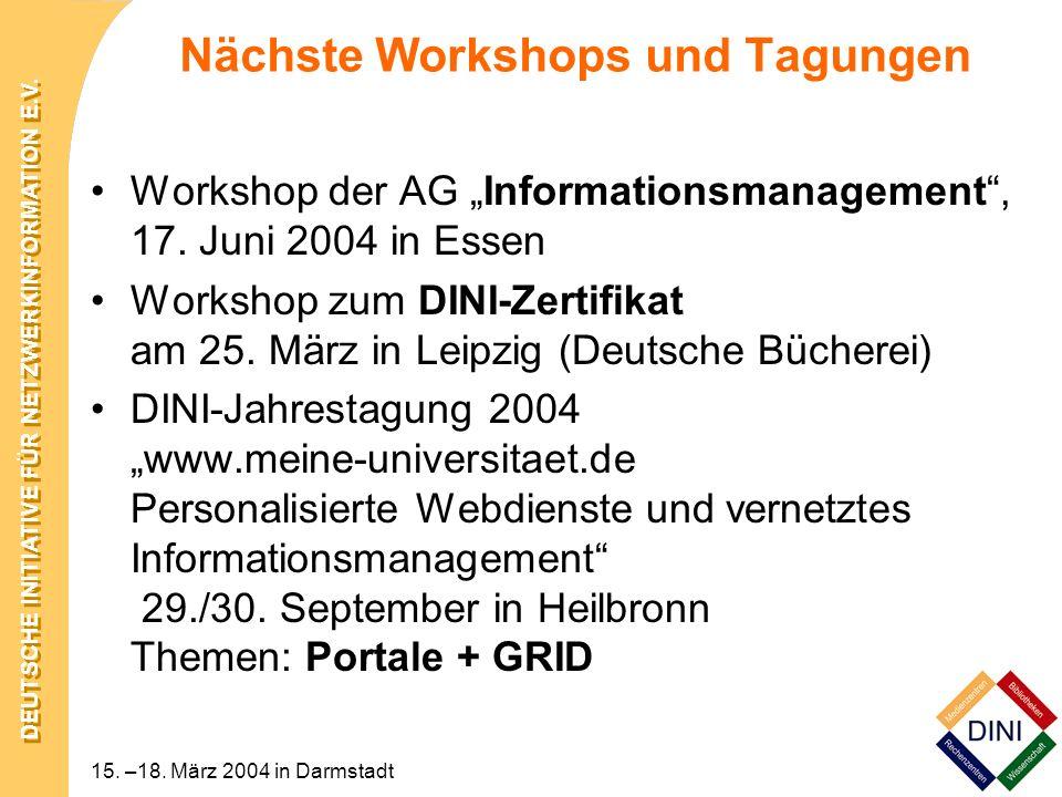 Nächste Workshops und Tagungen