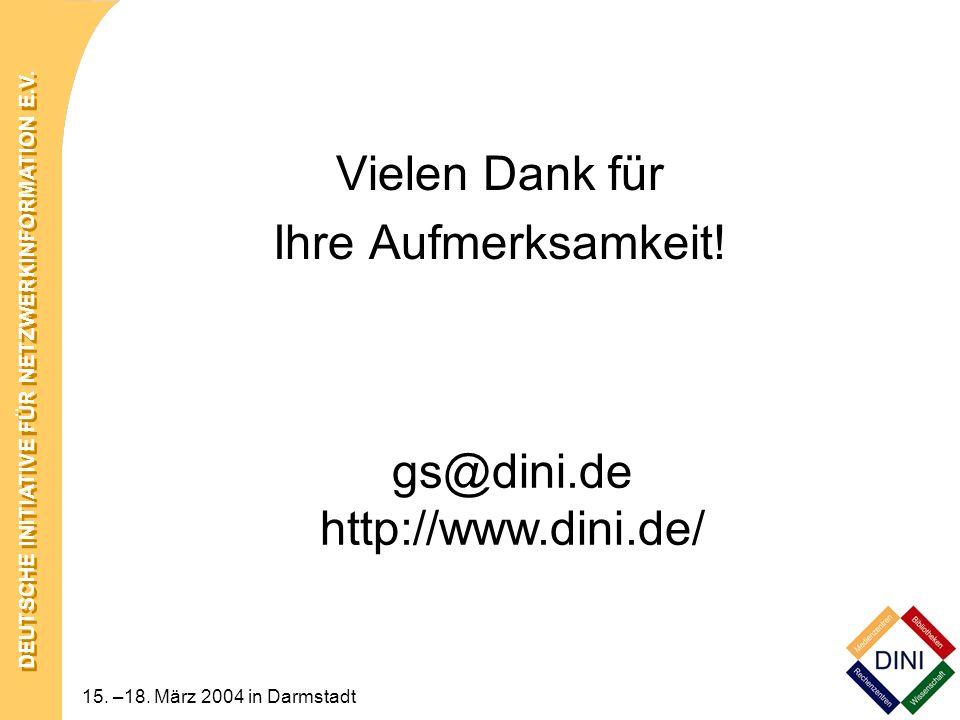 Vielen Dank für Ihre Aufmerksamkeit! gs@dini.de http://www.dini.de/