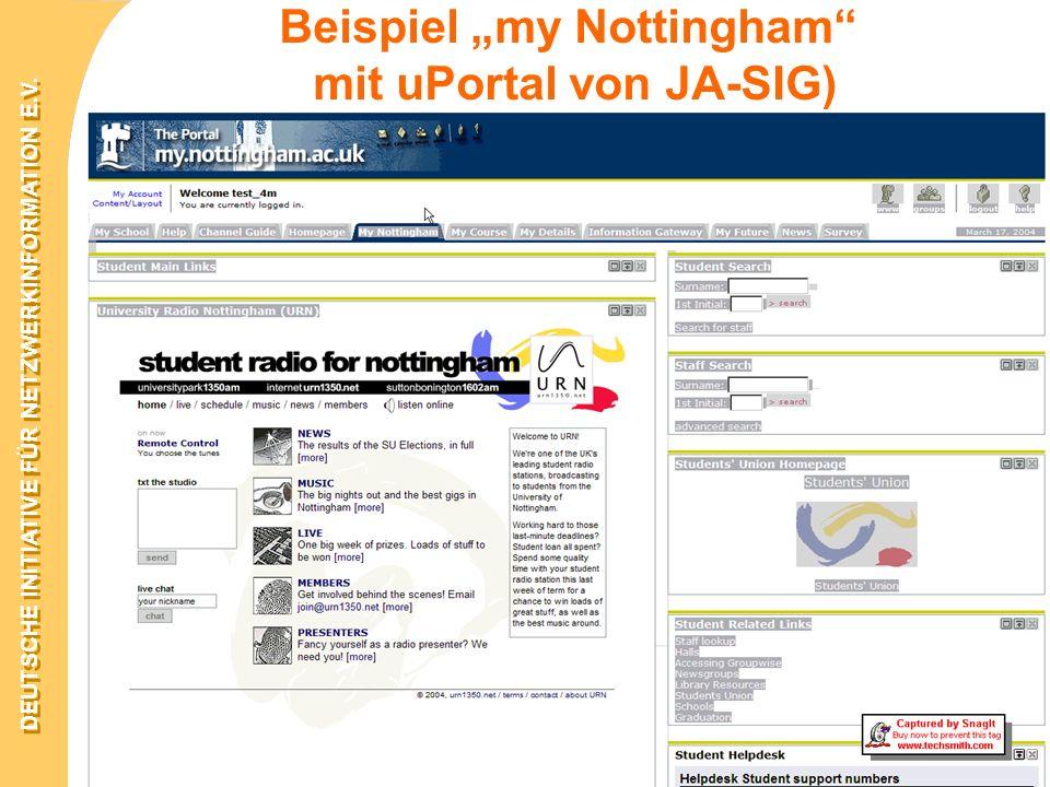 """Beispiel """"my Nottingham mit uPortal von JA-SIG)"""