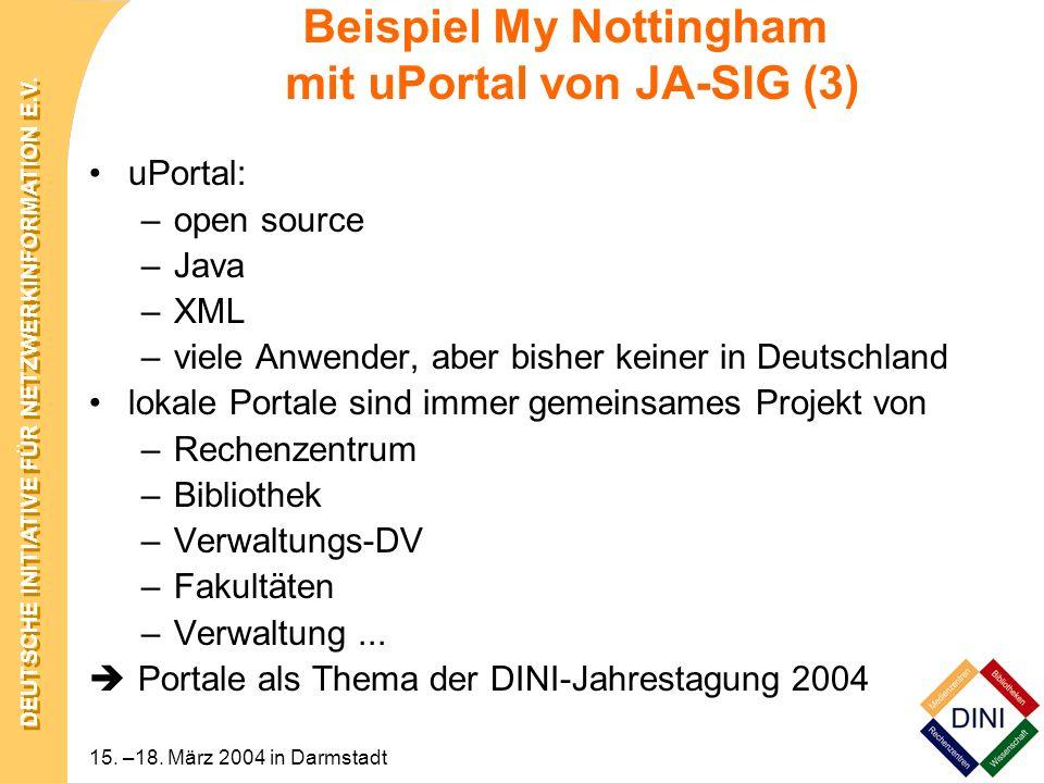 Beispiel My Nottingham mit uPortal von JA-SIG (3)