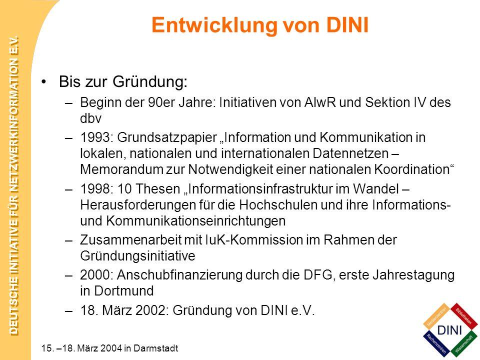 Entwicklung von DINI Bis zur Gründung: