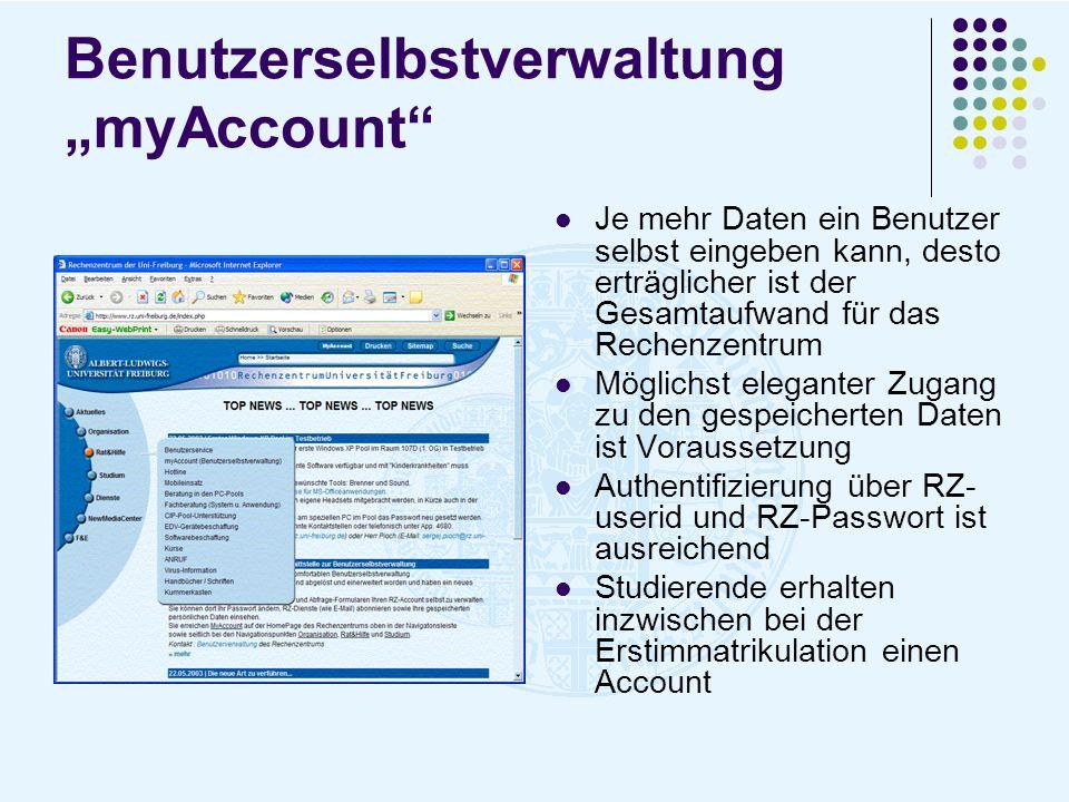 """Benutzerselbstverwaltung """"myAccount"""