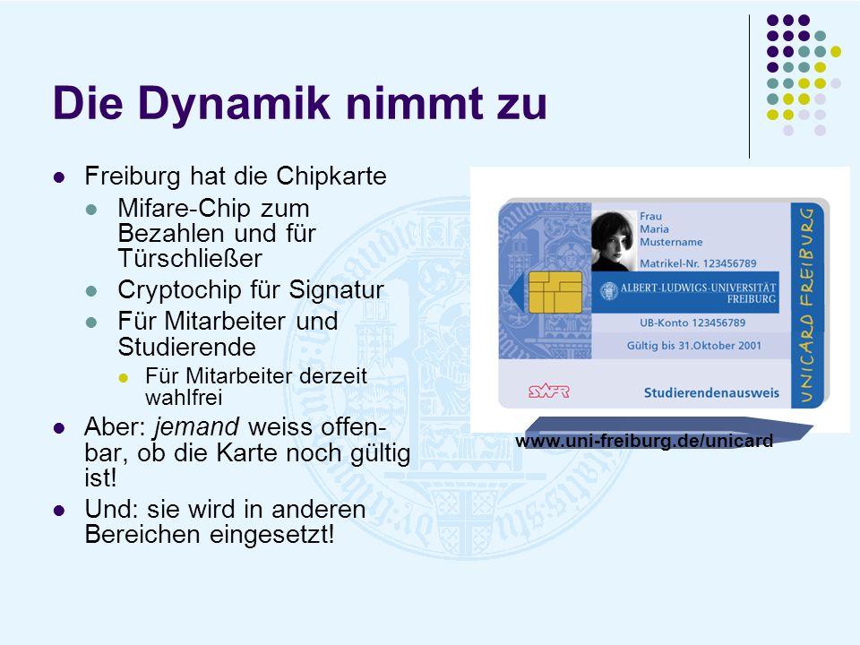 Die Dynamik nimmt zu Freiburg hat die Chipkarte