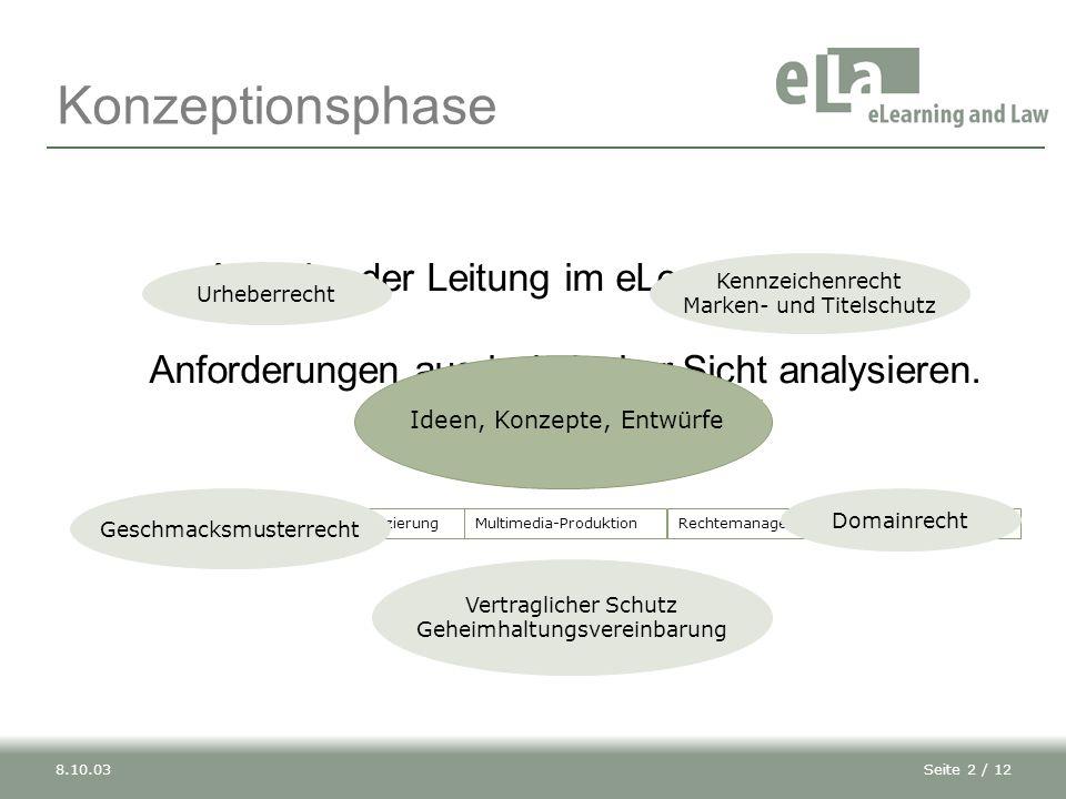 Konzeptionsphase Aufgabe der Leitung im eLearning-Projekt: