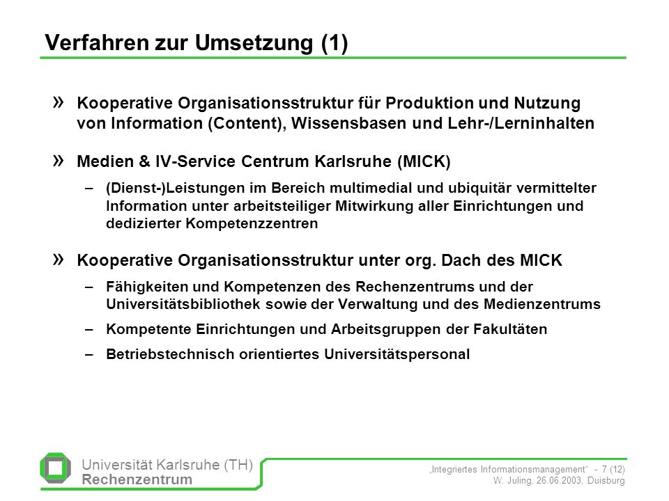 Verfahren zur Umsetzung (1)