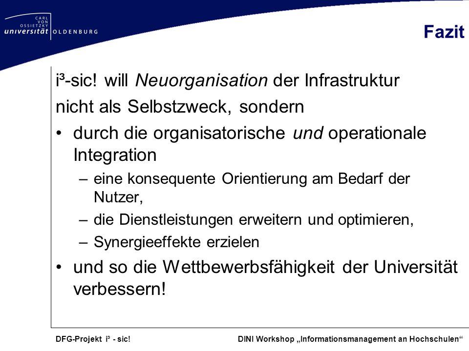 i³-sic! will Neuorganisation der Infrastruktur