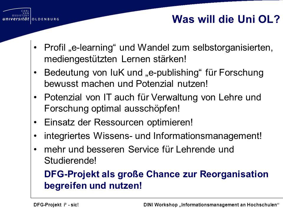 """Was will die Uni OL Profil """"e-learning und Wandel zum selbstorganisierten, mediengestützten Lernen stärken!"""