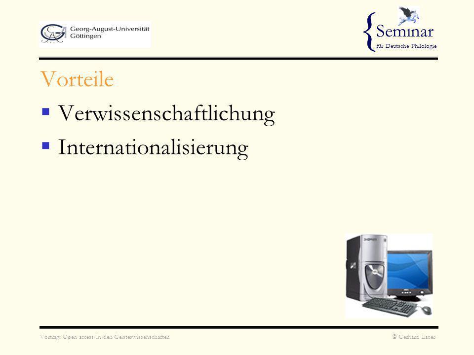 { Vorteile Verwissenschaftlichung Internationalisierung