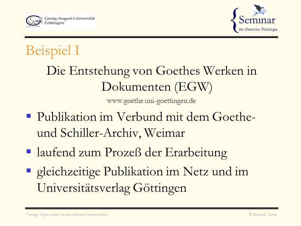Die Entstehung von Goethes Werken in Dokumenten (EGW)