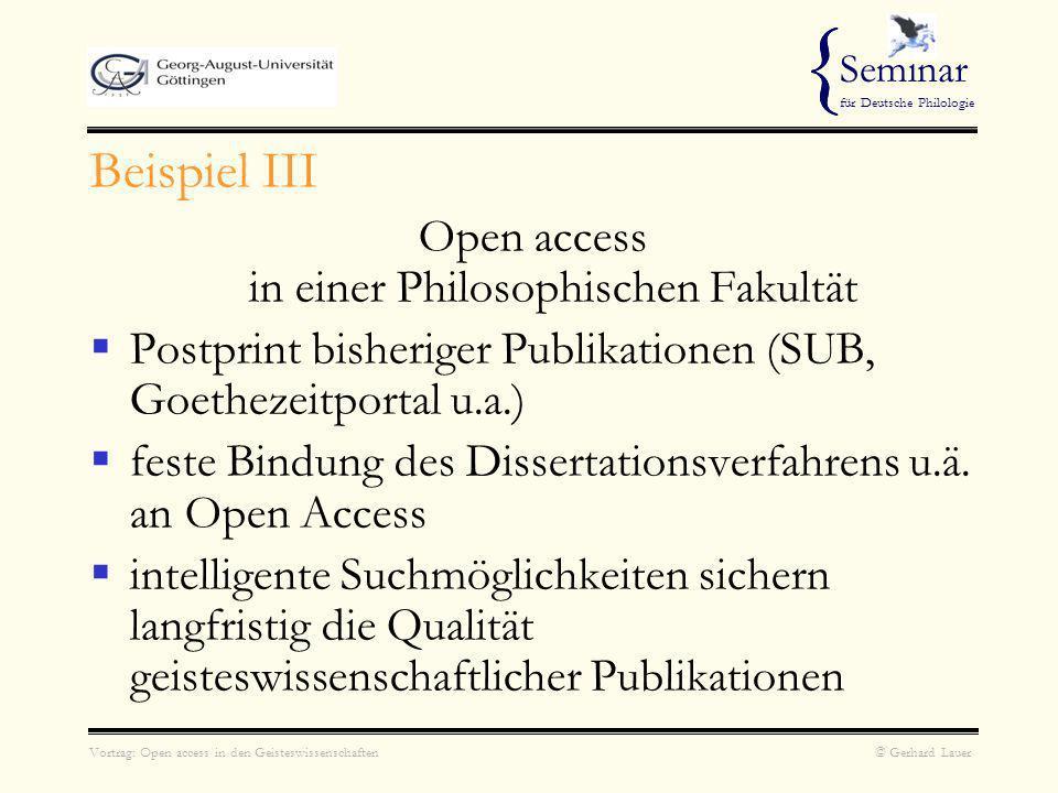 Open access in einer Philosophischen Fakultät
