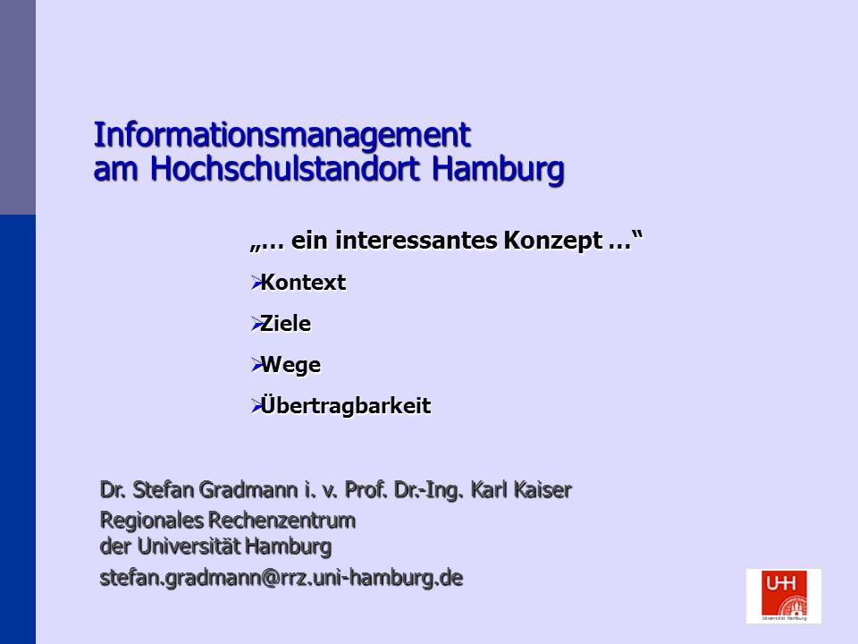 Informationsmanagement am Hochschulstandort Hamburg
