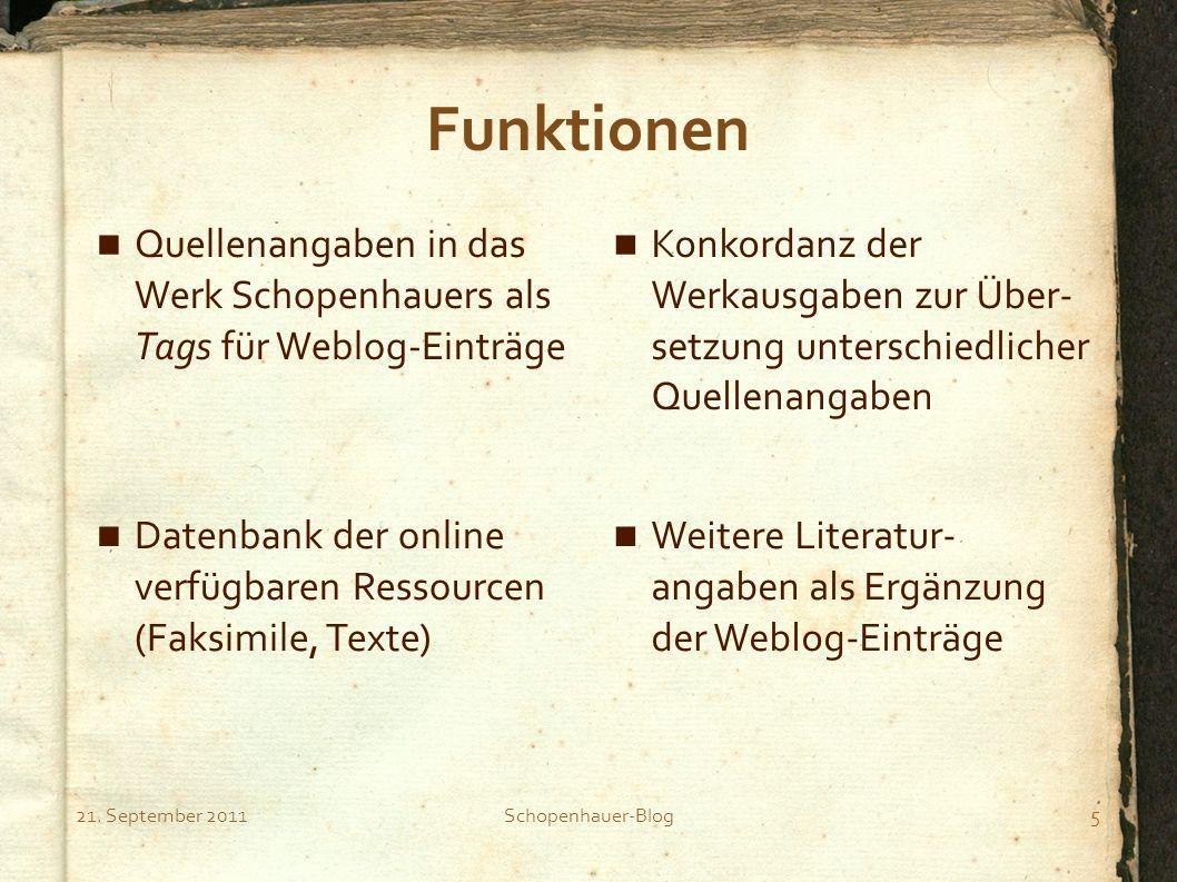 Notizen zur Präsentation Schopenhauer-Blog