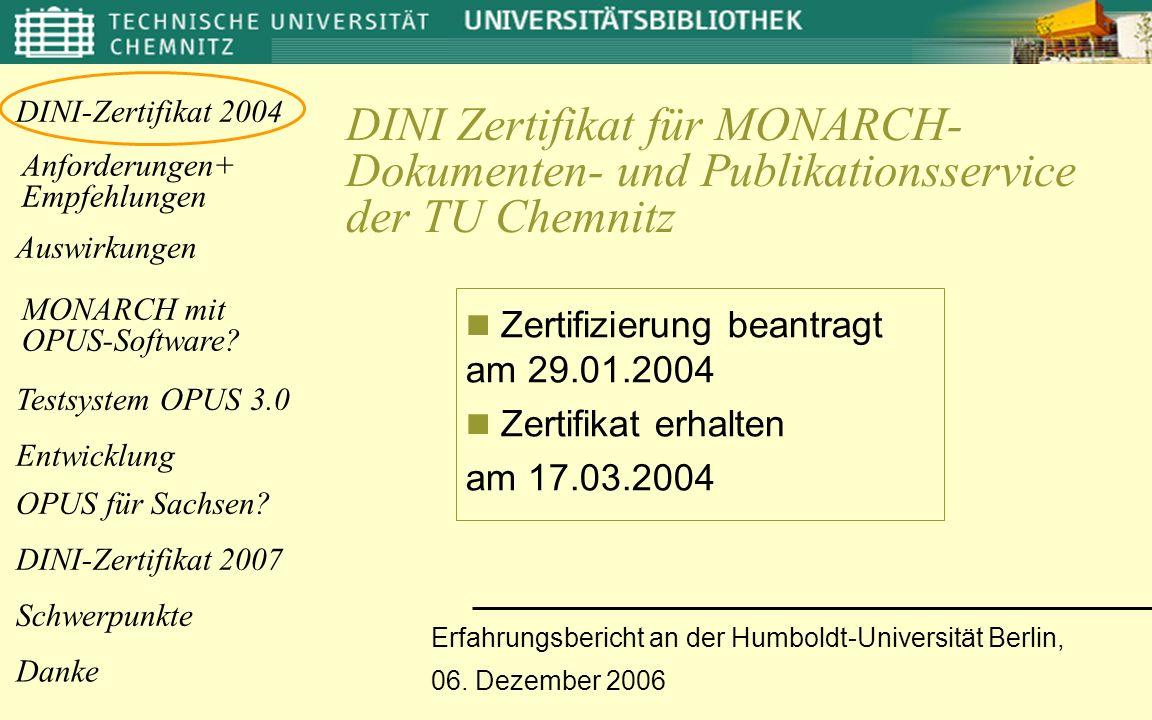 DINI Zertifikat für MONARCH- Dokumenten- und Publikationsservice der TU Chemnitz