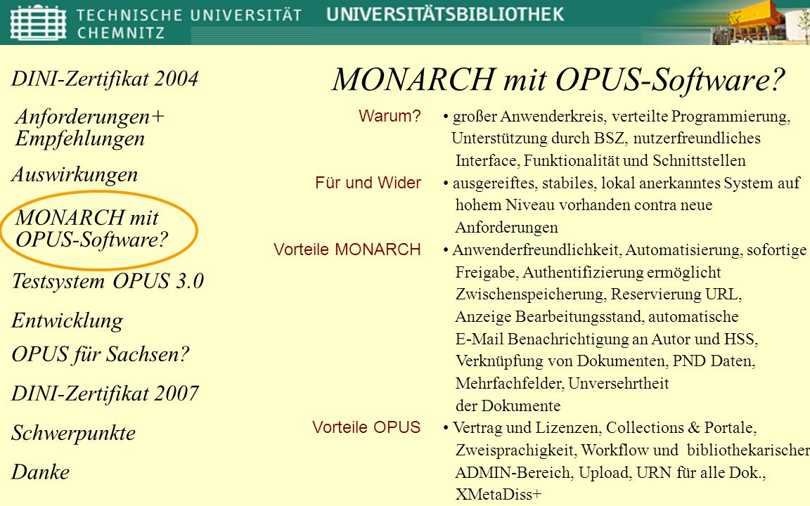 MONARCH mit OPUS-Software