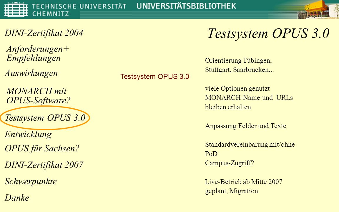 Testsystem OPUS 3.0 Orientierung Tübingen, Stuttgart, Saarbrücken...